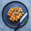 Savory two-cheese waffles with bacon