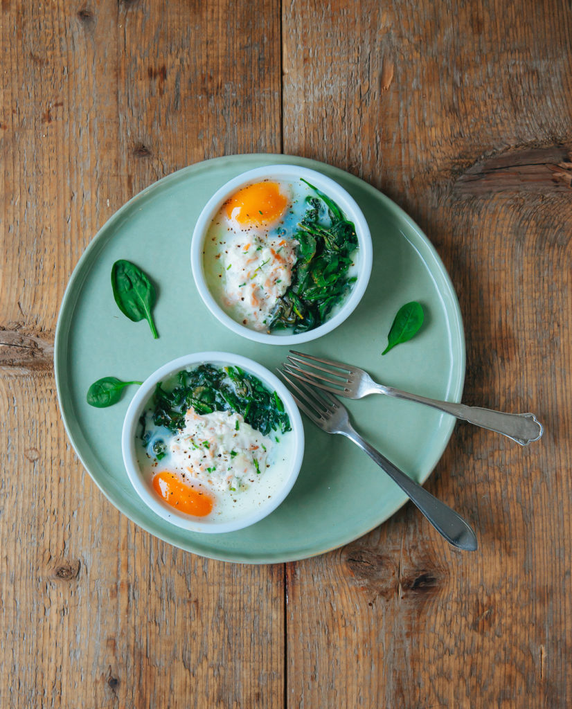 Oven Baked Eggs With Spinach Amp Smoked Salmon The All Day